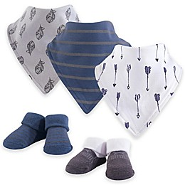 Yoga Sprout 5-Piece Arrows Bandana Bibs & Socks Set in Blue