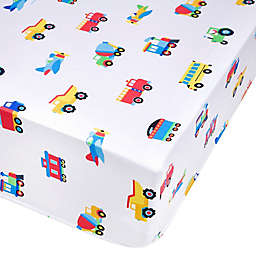 Wildkin Trains, Planes & Trucks Fitted Crib Sheet in Blue