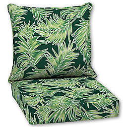 Quintana Tropical 2 Piece Outdoor Deep Seat Cushion Set In Emerald