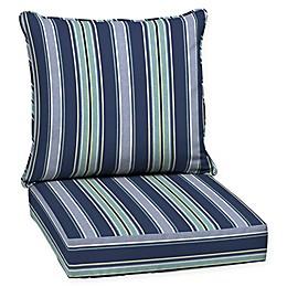 Aurora Stripe 2-Piece Outdoor Deep Seat Cushion Set in Sapphire