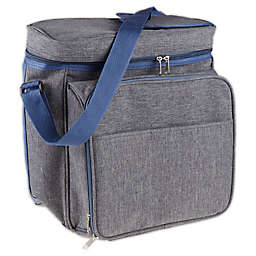 13-Piece Insulated Picnic Tote in Heather Grey/Blue