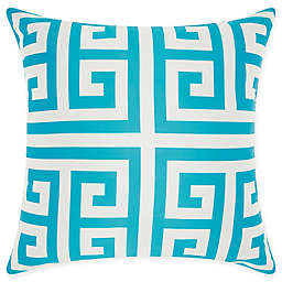 Mina Victory Greek Key Indoor/Outdoor Square Throw Pillow in Turquoise