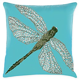 Mina Victory Beaded Dragonfly Indoor/Outdoor Square Throw Pillow in Turquoise