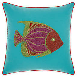 Mina Victory Beaded Fish Indoor/Outdoor Square Throw Pillow in Turquoise