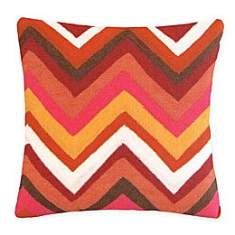 Liora Manne Zigzag Indoor/Outdoor Square Throw Pillow in Orange