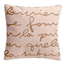 Liora Manne Poem Indoor/Outdoor Square Throw Pillow in Ivory