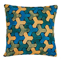 Liora Manne Trefoil Indoor/Outdoor Square Throw Pillow in Blue