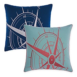 Mina Victory Compass Indoor/Outdoor Square Throw Pillow