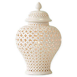 Two's Company® Cathage Piereced Covered Lantern in White