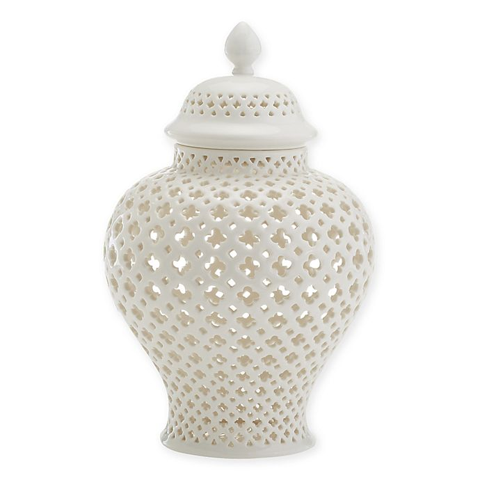 Alternate image 1 for Two's Company® Cathage Piereced Covered Lantern in White