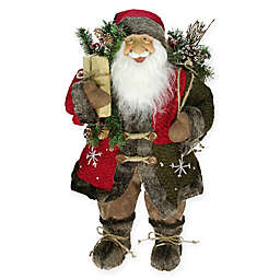 24-Inch Rustic Santa Claus Figure with Knitted Jacket