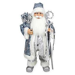 16-Inch Santa Claus Figure in Blue/Silver