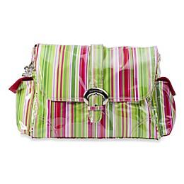 Kalencom Single Buckle Laminated Diaper Bag in Ruby Stripes