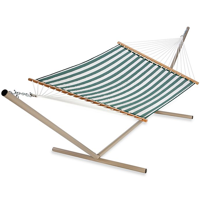 Alternate image 1 for Castaway Olef in Large Quilted Hammock in Green and White