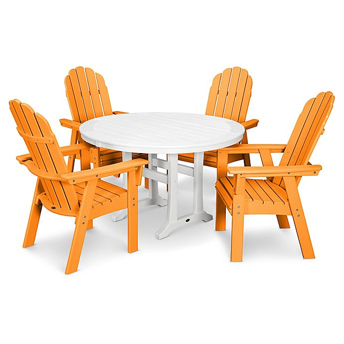 Alternate image 1 for POLYWOOD Vineyard Adirondack 5-Piece Nautical Trestle Dining Set in Orange/White
