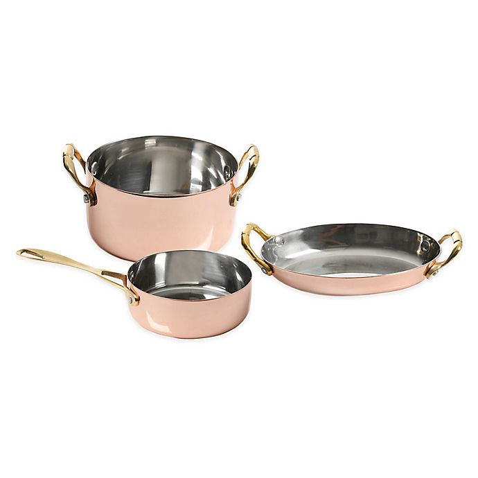 Alternate image 1 for Artisanal Kitchen Supply™ Mini Copper-Plated Stainless Steel Cookware Collection