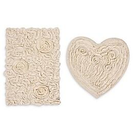 2-Piece Bellflower Heart Bath Rug Set