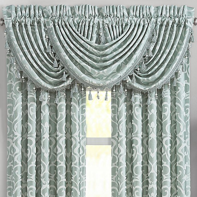 Alternate image 1 for J. Queen New York™ Lombardi Waterfall Window Valance in Blue