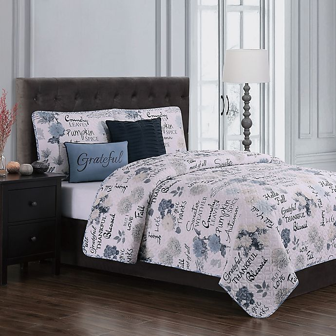 Alternate image 1 for Maze Daze Reversible Queen Quilt Set in Blue/Ivory