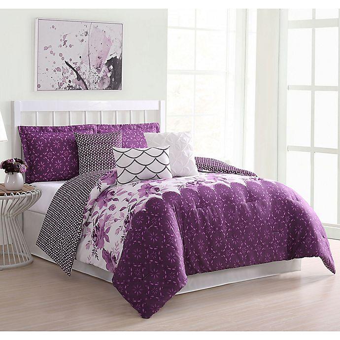 Alternate image 1 for Carmela Home Surrey 7-Piece Queen Comforter Set in Purple