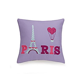 """Paris"" Embroidered Throw Pillow in Purple"