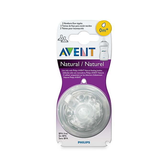 Alternate image 1 for Philips Avent 0-1 Month 2-Pack Natural Nipples