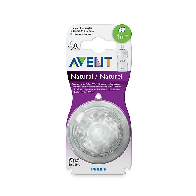 Alternate image 1 for Philips Avent 1 Month+ 2-Pack Slow Flow Natural Nipples
