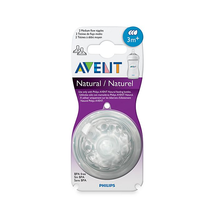 Alternate image 1 for Philips Avent 3 Month+  2-Pack Medium Flow Natural Nipples