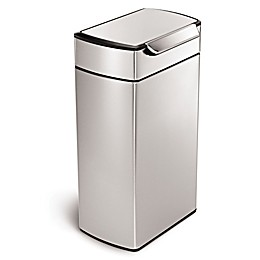 simplehuman® Brushed Stainless Steel Fingerprint-Proof Rectangular 40-Liter Touch Bar Trash Can