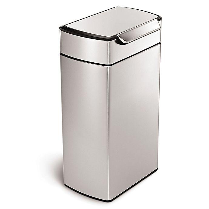 Alternate image 1 for simplehuman® Brushed Stainless Steel Fingerprint-Proof Rectangular 40-Liter Touch Bar Trash Can