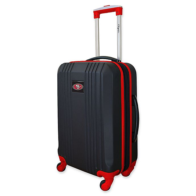 f9cd2099a30 NFL San Francisco 49ers 21-Inch Hardside 4-Wheel Spinner Carry On in Black  Red