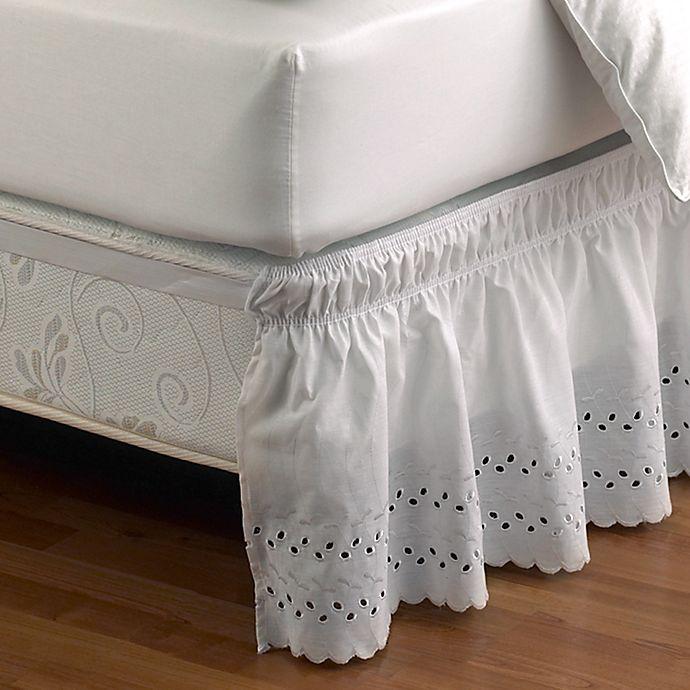Alternate image 1 for Ruffled Eyelet Queen/King Bed Skirt in White