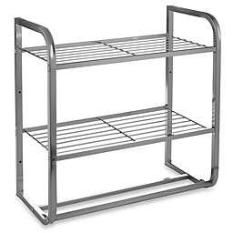 2-Tier Satin Nickel Shelf with Towel Bars