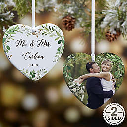 2-Sided Glossy Laurels of Love Personalized Wedding Ornament- Small