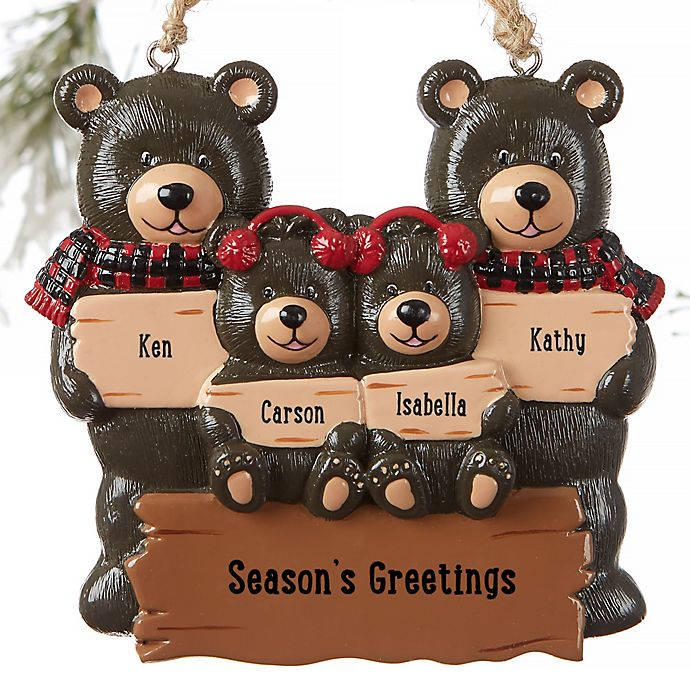 Alternate image 1 for Holiday Bear Family Personalized Ornament- 4 Names