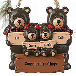 Holiday Bear Family Personalized Ornament- 4 Names