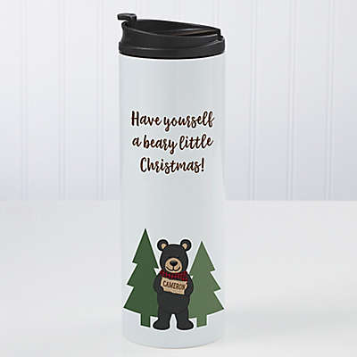 Holiday Bear Family Personalized 16oz Travel Tumbler