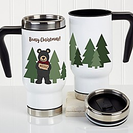 Holiday Bear Family Personalized Commuter Travel Mug