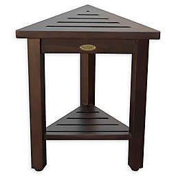 FlexiCorner™ Teak Modular Shower Stool with Shelf in Brown