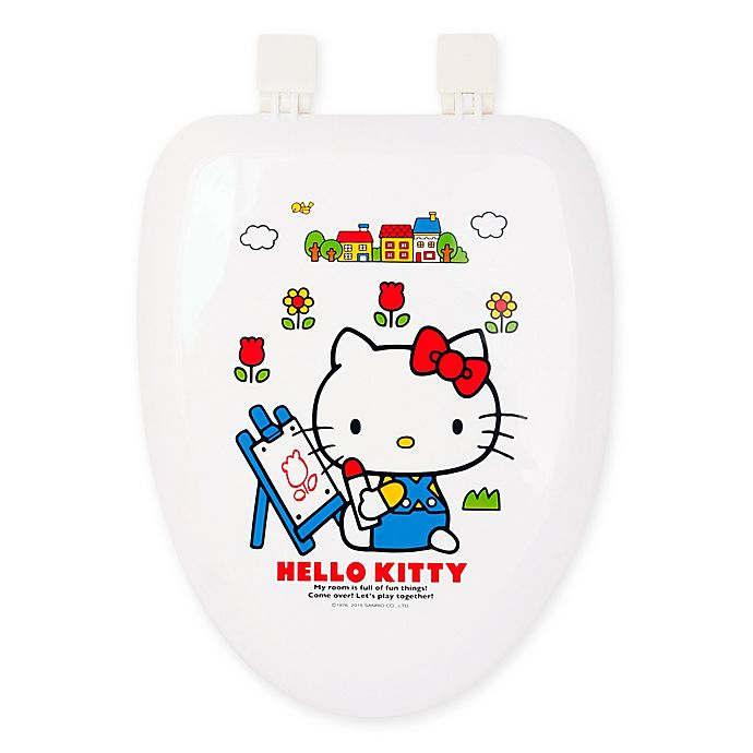 Super Hello Kitty Elongated Toilet Seat And Hard Cover In White Spiritservingveterans Wood Chair Design Ideas Spiritservingveteransorg