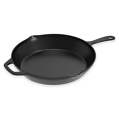 Home-Complete 12-Inch Pre-Seasoned Cast Iron Skillet with Helper Handle in Black