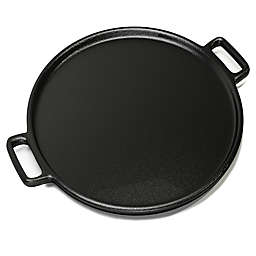 Home-Complete 14-Inch Cast Iron Pizza Pan in Black