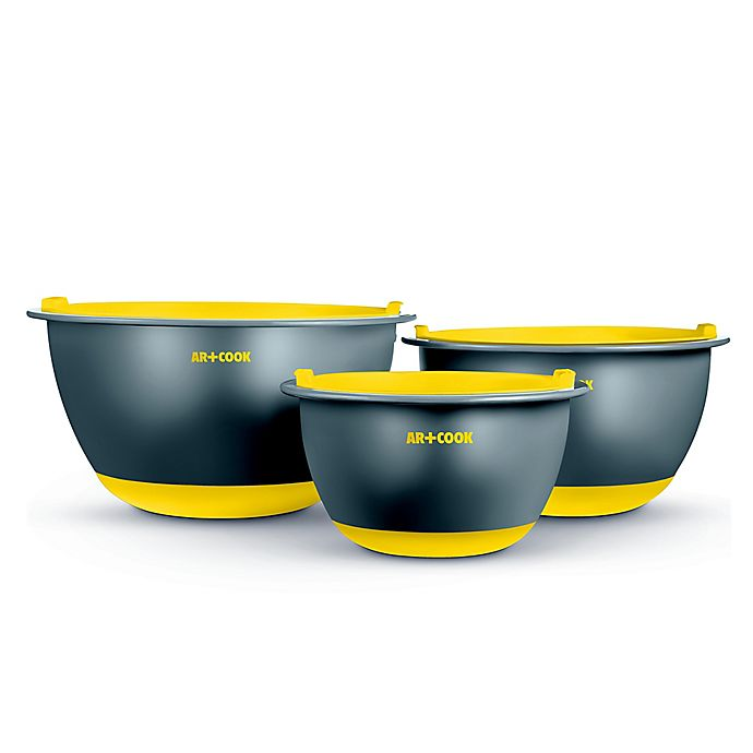 Alternate image 1 for Art and Cook™ 6-Piece Non-Skid Mixing Bowl with Lids Set in Yellow