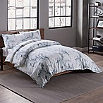 Garment Washed Printed Full/Queen Duvet Cover Set in Marble