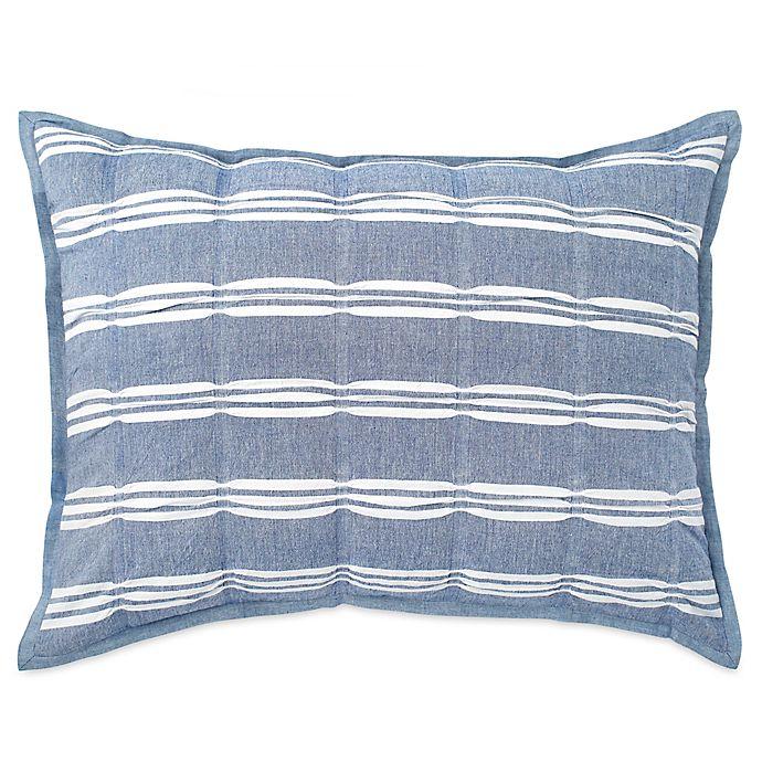 Alternate image 1 for Peri Home Puckered Stripe King Pillow Sham in Blue