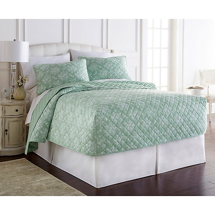 Alternate image 1 for Micro Flannel® Toil Celadon Twin Fitted Quilt Set in Green