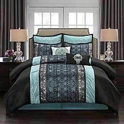 Arabesque 8-Piece California King Comforter Set in Blue