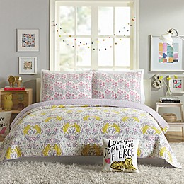 Hello Lucky Tiger Flowers Reversible Quilt Set