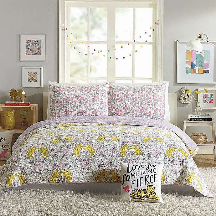 Alternate image 1 for Hello Lucky Tiger Flowers Reversible Quilt Set