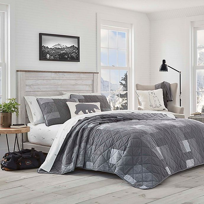 Alternate image 1 for Eddie Bauer® Swiftwater Twin Quilt Set in Charcoal